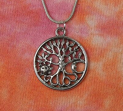 Sun & Moon Tree of Life Necklace, for Men or Women, Celestial Roots TOL Pendant