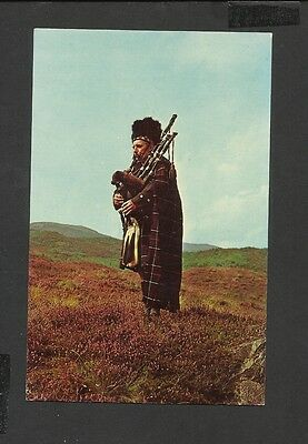 Vintage Colour Postcard The Scots Piper amidst the Heather Scotland Unposted