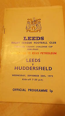 20.9.72 Leeds v Huddersfield rugby league programme Yorkshire Cup semi-final
