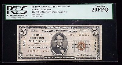 1929  Wells River Vermont $5 Dollar National Paper Note Certified PCGS VF 20 PPQ
