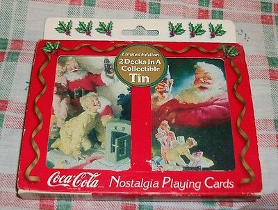 Sealed Coca Cola Nostalgia Playing Cards 2 Decks In Collectible Hinged Tin