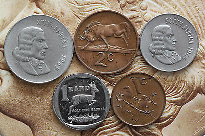 South Africa 1965-1997  1,2,10,20 Cents, 1Rand Animals, plants-Foreign coin
