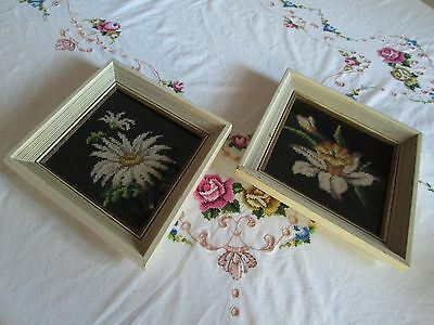 2 Mid Century Needlepoint Hanging Wall Framed Glass Floral Vintage 1950 1960
