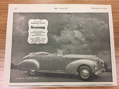 Very Rare 1949 TICKFORD Small Vintage B&W Car Advert L3