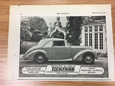 Very Rare 1948 TICKFORD Small Vintage B&W Car Advert L1