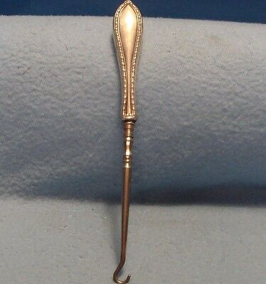 """Antique 7"""" Early Victorian Bead Pattern Sterling Silver Handle Button Hook"""