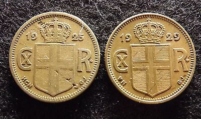 Scarce 1925 & 1929 ICELAND 1 Krona - 2 Very Collectible Coins, KM# 3.1 (#447)