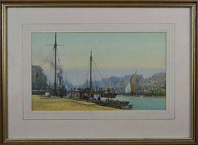 Impressive Fine Mid 20th Century Watercolour Of Weymouth Harbour By S Thompson.