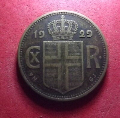 Scarce 1929 ICELAND Krona - Nicely Detailed High Value Coin, KM# 3.1  (#030)