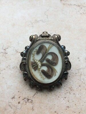 Antique Memorial Melee Pearl Brooch With daguerreotype
