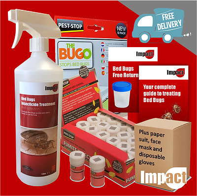 COMPLETE BED BUGS TREATMENT KIT spray powder fumite killer book guide bedbugs