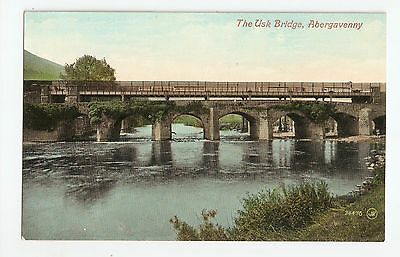 A Superb Old Colour Postcard Of The Usk Bridge At Abergavenny Top Condition