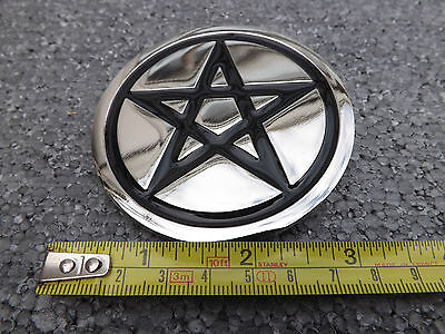 NEW   BLACK PENTAGRAM BELT BUCKle PENTACLE SOLID metal & enamel