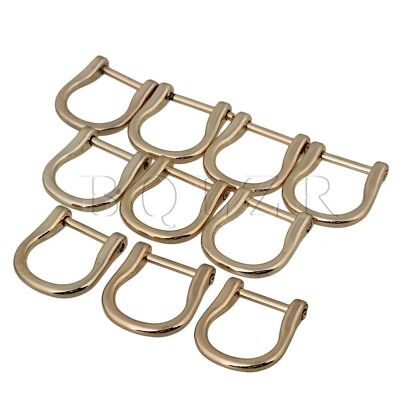 BQLZR 10PCS Metal 1.8cm ID Long D Rings Buckles Dismountable Screw Light Gold