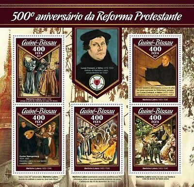 Z08 IMPERF GB17010a GUINEA BISSAU 2017 luther 500 Years Reformation MNH **