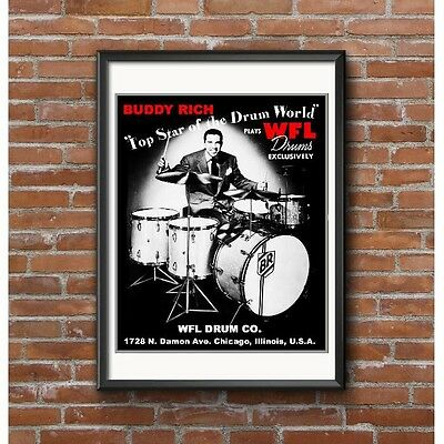 Buddy Rich Poster - Buddy Plays WFL Drums Top Star of the Drum World