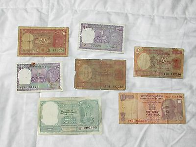 Neat Lot of (7) rare date India banknotes Rupee notes