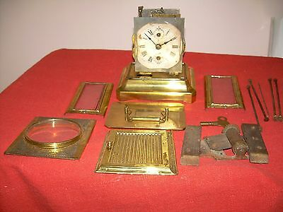 Antique Junghans German Musical  Carriage Clock+Alarm?? in pieces, parts + key