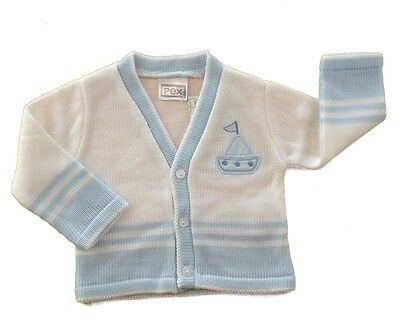 Baby Boys V-Neck Cardigan White & Sky Blue Applique Yacht Brand Pex Sizes 0-12m