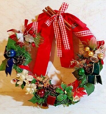 VINTAGE CHRISTMAS WREATH WITH ANTIQUE CHRISTMAS CORSAGES FROM THE 40s ERA