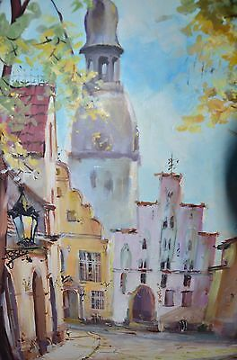 RIGA Latvia, Old Town Scenery, oil on canvas painting, framed, signed, Beautiful