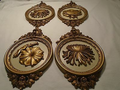 Vintage set of 4 Gold Floral Wall Plaques Home Interior