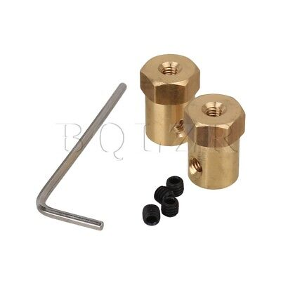 2 x Hexagon Brass Motor Flexible Coupling Fits For 5mm Shaft With Mount Fittings
