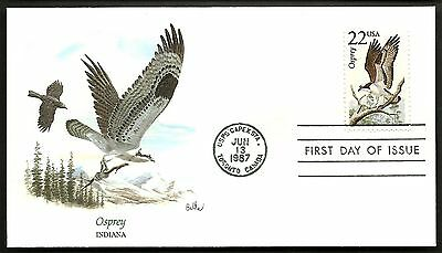 """US 1987 FDC Collection """" Wildlife of the 50 States"""" Indiana - Osprey"""