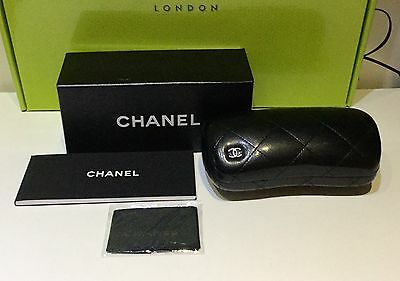 Genuine Chanel Quilted Sunglasses Hard Case With Lens Cleaning Cloth & Box
