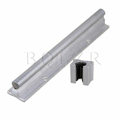 2x Silver BQLZR 12mm Shaft 200mm Linear Bearing Rail w/ Open Linear Motion Block