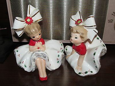 2 Vtg INARCO Big Bow Bloomer Girl Christmas Figurines E1265 Signed Sticker Pair