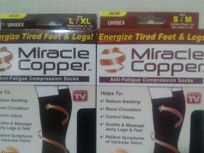 2 pairs  Miracle Copper Socks Anti Fatigue Compression black UNISEX S/M
