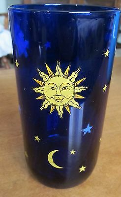 Vintage NEW with Label Celestial Sun Moon Stars Cobalt Blue 16 oz Drinking Glass