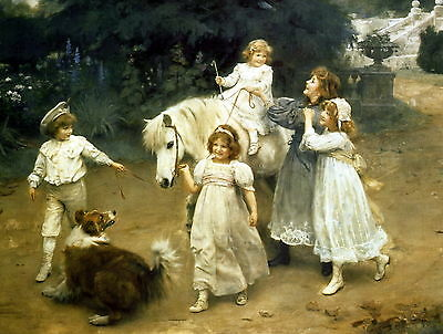 8x10 Print Victorian Children Sisters Bareback Ride Pony Horse Rough Collie Dog