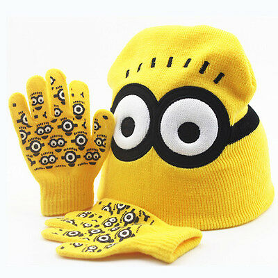 Cute Kids Boys Despicable Me 2 Minion Warm Knitted Hat & Gloves Set Beanie Hat