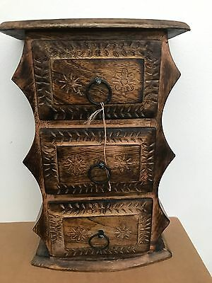 Vintage Wooden Jewellery Box Trinket With 3 Draws Coin Money Saving Gift