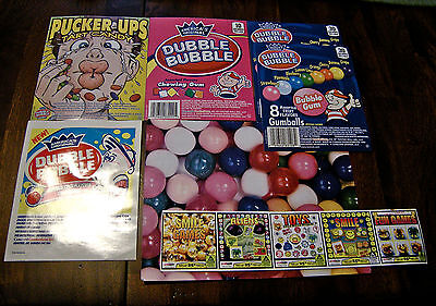 VINTAGE & CURRENT 7pc BULK VENDING DISPLAY CARD LOT CANDY GUMBALLS CAPSULES