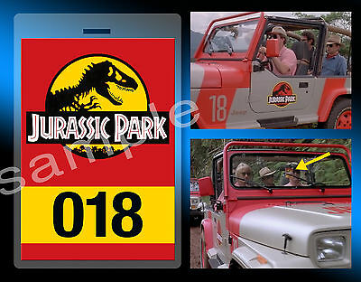 Replica JURASSIC PARK Sahara Jeep #018 Badge Tag Lanyard Movie Prop World J