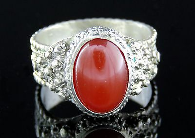 Vintage sterling Silver 925 Filligree Ring with Carnelian stone Israel 50'