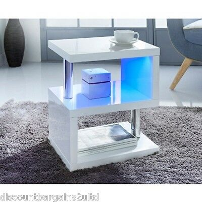 Modern Design White High Gloss Coffee/Side Table With Blue LED Lights New