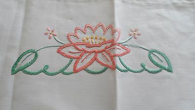 Single vintage embroidered pillowcase with deep crocheted edge.