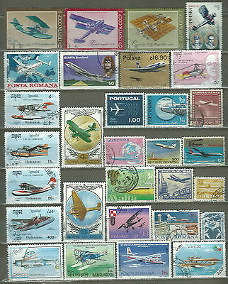 Worldwide 30 Airplanes Used Mnh Pictorial Mixture Look (24)