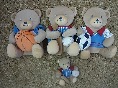 3 Plush Teddy Bear Sports Themed Wall Hangings For Nursery/kids Room