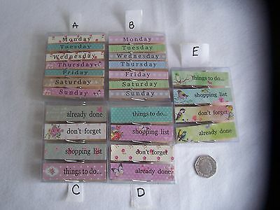 Gisela Graham LARGE Wooden MAGNETIC  MEMO PEGS CLIPS Five Designs To Choose From