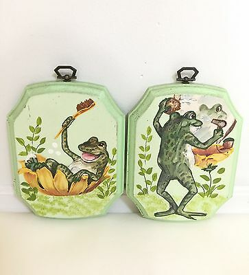 Set of 2 Vintage Hand Crafted 1980s Frogs Bathing Wood Plaque Bathroom Decor