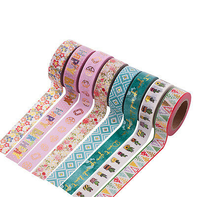10M Cartoon Pattern Metallic Gold Craft Washi Paper Tape DIY Scrapbook Sticker