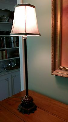 """Heyco Art Nouveau Med Century Metal Table Lamp With Shade 27"""" Tall"""