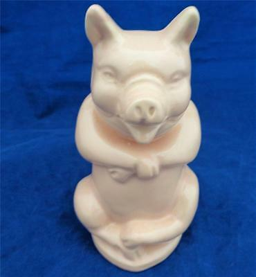 Vintage Novelty Pink Pottery Piggy Bank Seated Pig with Coin Slot No Opening