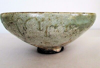 Antique Chinese Tomb Burial Pottery Celadon Yue Ware Bowl c. 9th -10th C / Large