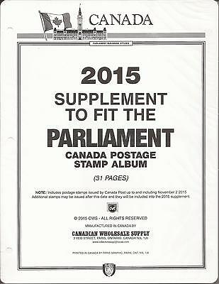 Parliament Canada Stamp Album-B&W-3-ring-New-31 Page, 2015 Supplement-Free Ship